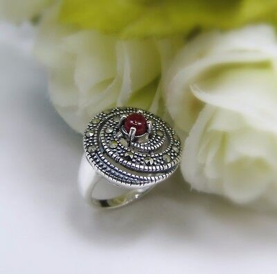 Marcasite Stone Women's Ring 925 Sterling Silver Costume Jewelry