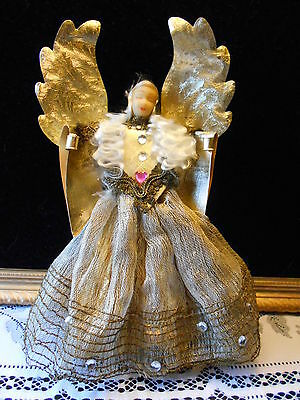 "Vintage Wax Head Angel Christmas Tree Topper Foil Wings 9"" Tall"