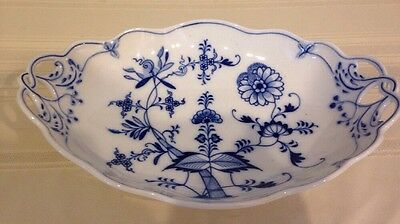 "Meissen Reticulated Blue White Bowl 9"" X 13"" Oval 107"