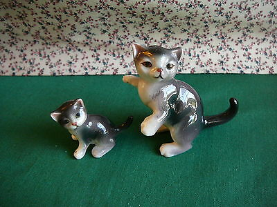 Pair 2 Cat playful pouncing kitty figurine porcelain collectible china miniature