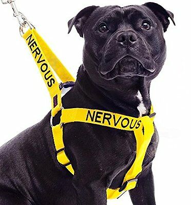 Dogs Pet Harness Non Pull NERVOUS Yellow Color Coded Warning Robust Puppy Safety