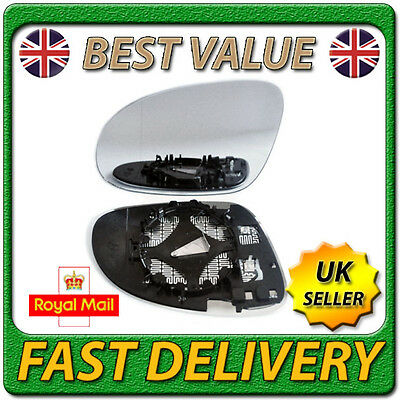 Left Passenger Side Heated Wing Door Mirror Glass for VW GOLF MK5 2003-2008