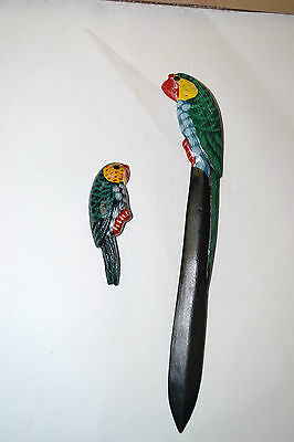 Green Parrot Letter Opener and Magnet Made of Wood
