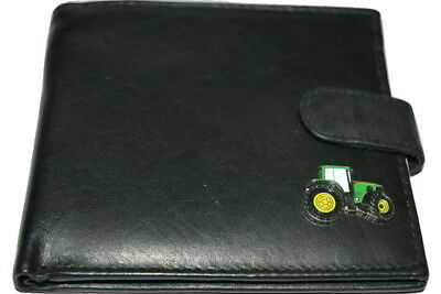 John Deere Tractor Wallet Leather Black/Dark Brown Gift Boxed Enamel Men's money