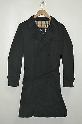Authentic Burberry Black Nova Check Plaid Trench Coat Made In England
