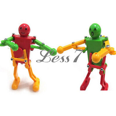 Creative Kid Fun Toy Clockwork Spring Multi-color Wind-up Dancing Walking Robot