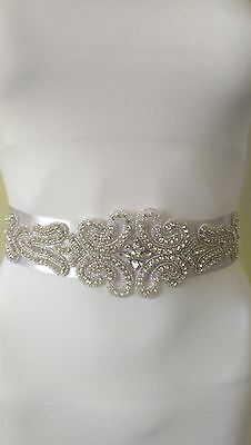 UK / Diamante crystal silver  bridesmaids bridal wedding sash belt new