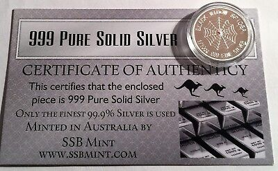 "1/10th OZ 99.9% Pure Silver Bullion Coin  ""Black Widow Spider"" (Gr8 Investment)"