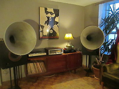 Rare Pair Vintage 1930's Era Huge Horn , Fits WESTERN ELECTRIC 555 Drivers NR