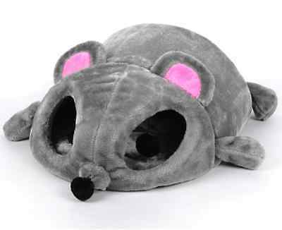 Cute Warm Grey Cartoon Mouse Pet Dog Cat House Bed Tent Kennel +2balls in eye