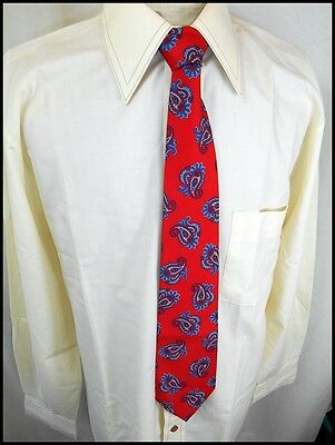 Vintage 70s Silky Red Blue Paisley Louis Cheval Paris Polyester Tie Disco Party