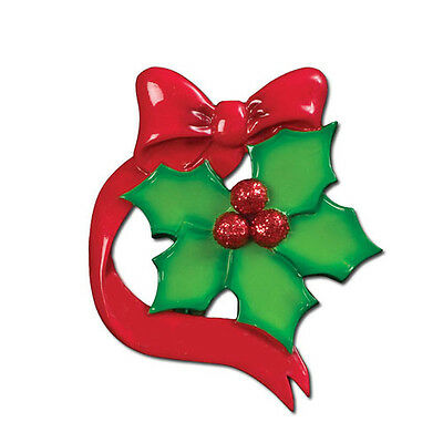 Holly Leaves Family of 5 Personalized Christmas Tree Ornament