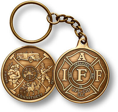 IAFF Commemorative / Firefighter Bronze Challenge Coin Key Chain