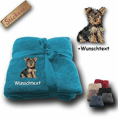 Flauschige Kuscheldecke Decke Yorkshire Terrier 01 +Name, Stickerei, 180x130cm