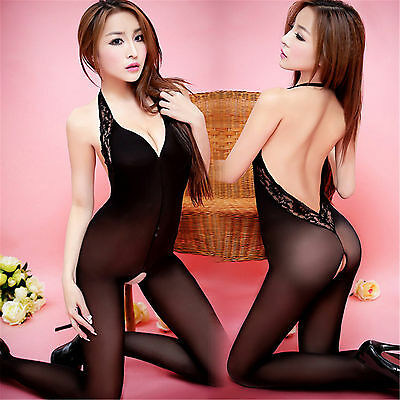 Bodystocking Cavallo Aperto Molto Sexy Open Crotch Body Stocking Nero Lingerie