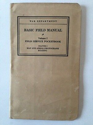 War Department Basic Field Manual Map & Aerial Pocketbook Army 1938 Photo Nm
