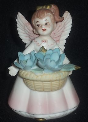 VINTAGE INARCO ANGEL WITH BASKET OF BLUE FLOWERS E-1631 - JAPAN