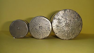 "Rare Vtg Palestine Israel א""י Set of 3 Melamed Scale Weights : 500,200,100 Grams"