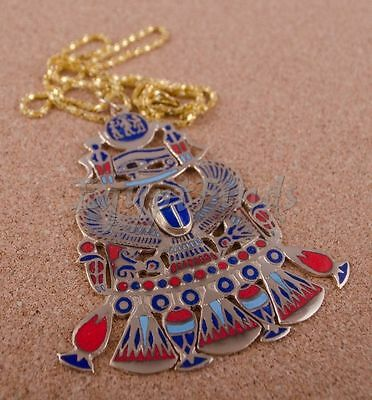 Egyptian Hand Made Brass Enameled Eye Of Horus And Scarab Necklace