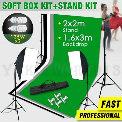 Photography Photo Studio Softbox Lighting Soft Box Light & 3 Backdrops Stand Kit