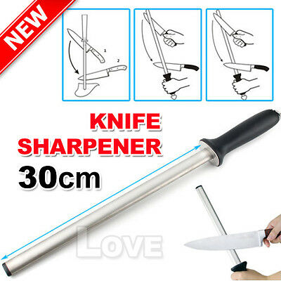 "Best Diamond Knife Sharpener Sharpening Steel  30cm 12"" Oval 600"