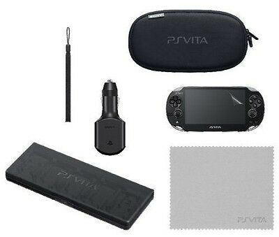Sony Playstation Vita Ps Official Travel Kit Car Charger Case Pouch Strap New