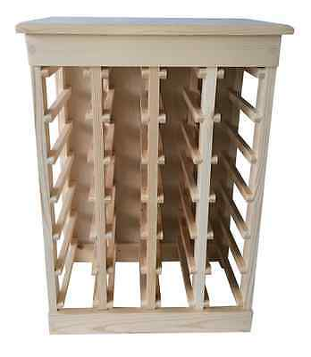24-Bottle Natural Pine Wood Wine Storage Rack with Solid Top