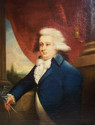 RARE - American MATHER BROWN 1780s Portrait Prominent Mason - Oil on Canvas