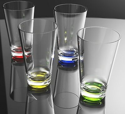 QG 8 pc 23 oz Clear w/ Color Base Acrylic Plastic Cup Drinking Glass Tumbler Set