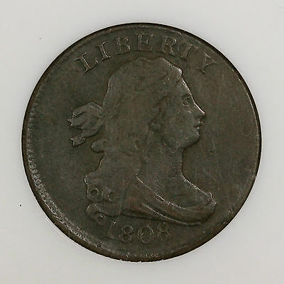 1808 ANACS VF Details Draped Bust Half Cent Coin 1/2c