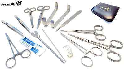 Prof. 15 Pcs MEDICAL DISSECTING KIT Surgical Anatomy Instruments SET Basic DE
