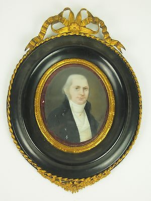 Portrait Of Man. Miniature. Oil Painting. Empire Style. France. Xix Century