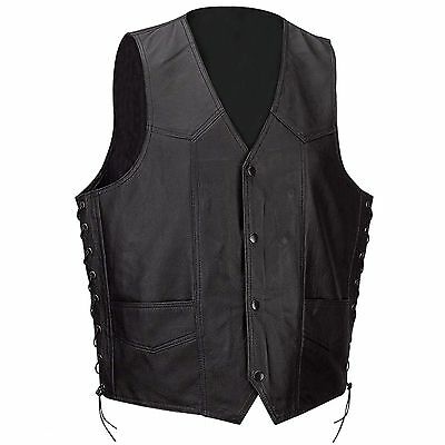 Mens Motorcycle  Biker  Genuine Leather Motorcycle Vest  with laces Black
