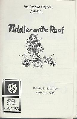 Programme 1987 - FIDDLER ON THE ROOF Osceola Players Center For The Arts