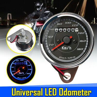 Universal Motorcycle LED Backlight Odometer + Speedometer Dual Gauge Meter km/h