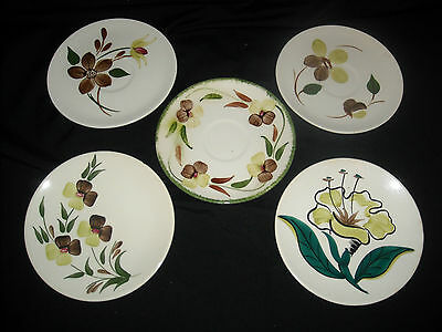 Blue Ridge Southern PotteryPlates/Saucers in Mixed Patterns- Pretty Set of 5!
