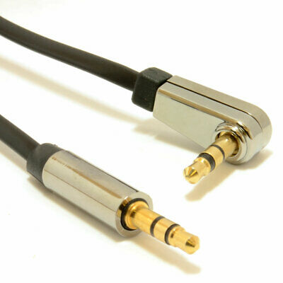 1m Low Profile FLAT Metal 3.5mm Right Angle Male Jack to Jack Cable [007367]