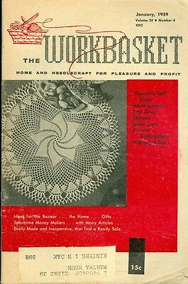 1959 The Workbasket Magazine: Crochet Comet Tail Doily/Crewel Embroidery/Soap