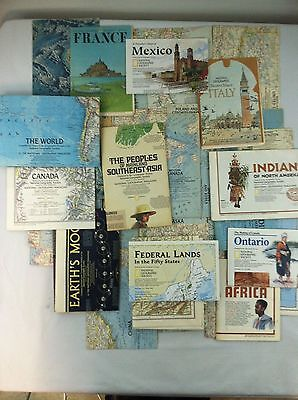 Vintage National Geographic Maps 1950s, 1960s, 1970s, 1990s - 38 total
