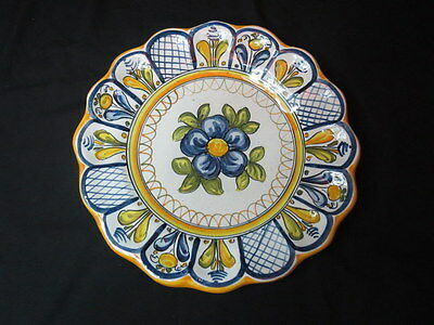 European Country Floral Motif Decorative Wall Plate Scalloped Signed