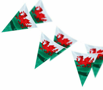 Massive 100 Ft Wales Welsh Dragon Triangle Fabric Flag Bunting Rugby 6 Nations