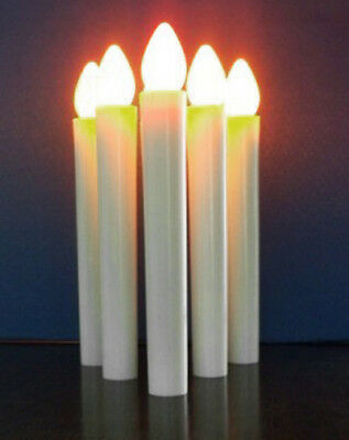10 White Taper LED Battery Stick Candle Gold Stand Wedding Table Room Decoration