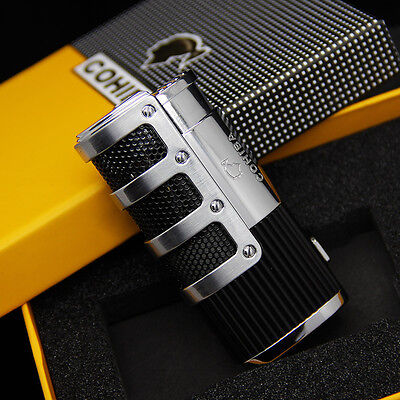 COHIBA Silver&Black Gridding Stripes Jet Flame Cigarette Cigar Lighter W/Punch