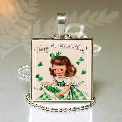1950s VINTAGE IRISH St Patricks Day Card Gift GRANDDAUGHTER Charm Necklace