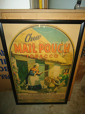 Framed Mail Pouch Tobacco Paperboard Advertisement