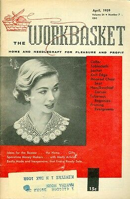1959 The Workbasket Magazine Crochet Collar/Tablecloth/Hooked Chair Seat/Pruning