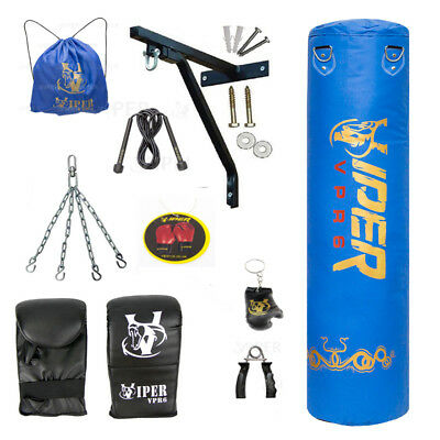 4ft Filled Heavy Boxing Punch Bag,Gloves,Bracket,Chain Mma Training Kick Fitness