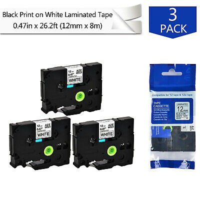 3PK TZ TZe-231 Black on White Label Tape For Brother P-Touch PT-550 PTE550W 12mm