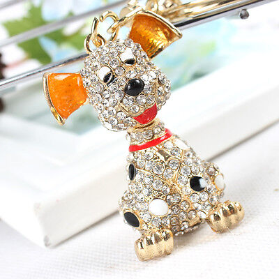 New Dog Cute Charm Lovely Pendent Crystal Purse Bag Keyring Chain Creative Gift