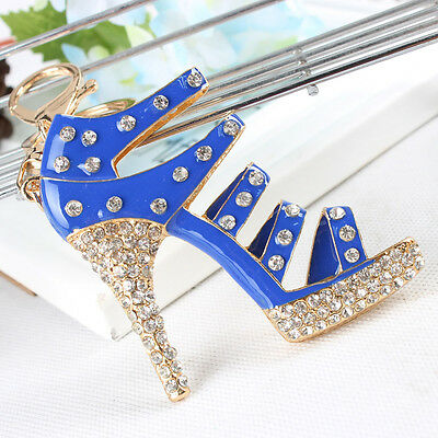 New Fashion Shoe Blue High-Heel Charm Pendant Crystal Purse Bag Key Chain Gift